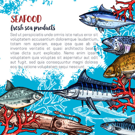 Seafood and fish food products posters template for fish and sea food market. Vector design of fresh marlin, octopus or flounder, salmon or tuna and prawn shrimp, lobster crab or squid and trout catch Ilustração