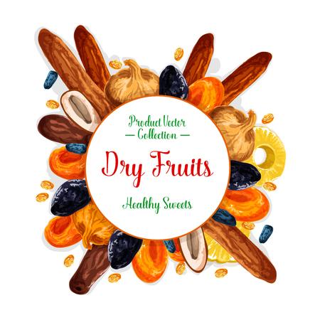 Gedroogd fruit of droog fruit snacks poster. Vector zoete rozijnen, pruimen of ananas en gedroogde abrikozen, dadels of vijgen en kersen of noten. Gezonde voeding dessert fruit ontwerp