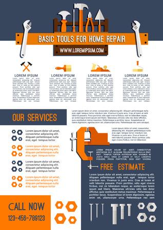 핸디 작업 도구의 집 수리 서비스 포스터 템플릿입니다. 목공 분쇄기의 벡터 건설 도구 상자 평면 및 본, 목공 망치 또는 스크루 드라이버 및 드릴, 흙