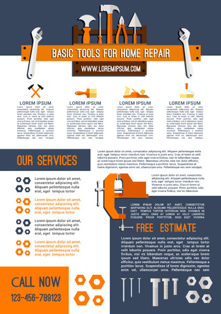Home repair service poster template of handyman work tools. Vector construction toolbox of woodwork grinder plane and saw, carpentry hammer or screwdriver and drill, plastering trowel and paint brush