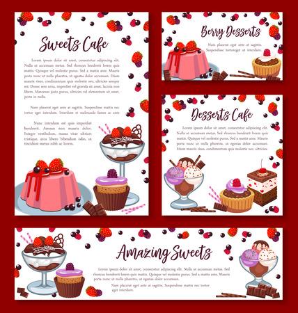 페스트리 구운 디저트 배너 또는 포스터 베이커리 가게 또는 제과점 카페 템플릿. 초콜릿 비스킷이나 브라 우니 티라미수 케이크, 과일 파이, 스위트