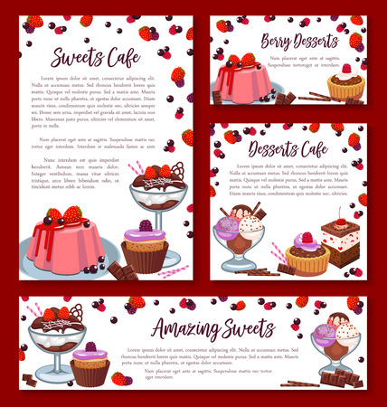 Pastry baked desserts banners or posters templates for bakery shop or patisserie cafe. Vector design of chocolate biscuits or brownie and tiramisu cakes, fruit pies and sweet puddings or ice cream
