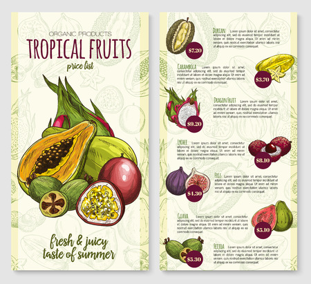 Exotic tropical fruits price list poster template for fruit store or market. Vector design of durian, carambola starfruit or dragon fruit and lychee, fresh fig or guava and feijoa tropic fruit harvest Ilustração