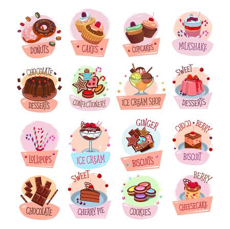 카페테리아 메뉴의 베이커리 샵 과자 및 디저트 아이콘. 베리 및 과일 케이크, 초콜릿 파이 또는 과자 쿠키 및 비스킷, 아이스크림 또는 티라미수 및 브 일러스트