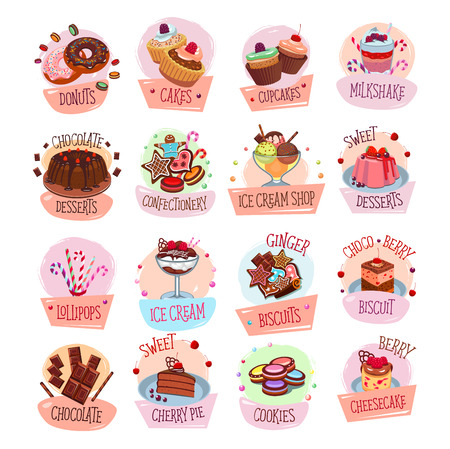 Bakery shop sweets and desserts icons for cafeteria menu. Vector set of berry and fruit cakes, chocolate pies or pastry cookies and biscuits, ice cream or tiramisu and brownie tortes and donuts Ilustração