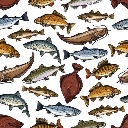 海や海の魚の魚のシームレスなパターン。マーリンやヒラメやサケ、マス、カワカマスやパーチと pikeperch、マグロや鯛とニシンの小魚、漁師キャッ