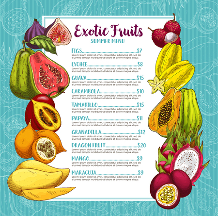 Exotic tropical fruits summer menu. Vector price template of figs, lychee or guava and carambola starfruit, tamarillo or papaya and granadilla, dragon fruit or mango and maracuja for fruit market
