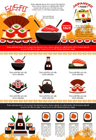Barra de sushi y plantilla de cartel o menú de restaurante japonés. Diseño vectorial de tallarines o arroz de mariscos en un tazón y palillos, salsa de soja y rollos de sushi o sashimi de salón, olla de té verde, anguila y atún