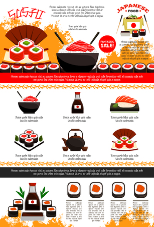 Sushi bar and Japanese restaurant poster or menu template. Vector design of noodle or seafood rice in bowl and chopsticks, soy sauce and sushi rolls or salon sashimi, green tea pot, eel and tuna unagi
