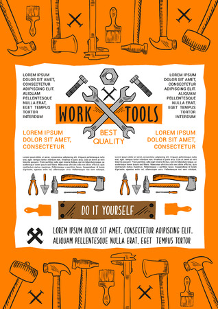 Work tools poster for or do it yourself or handy man carpentry, construction or building. Vector toolbox of plaster trowel, paint brush or hammer and drill, wrench and screwdriver or woodwork grinder
