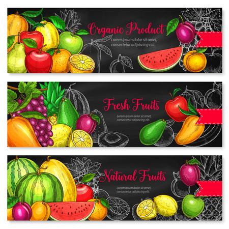 Banderas de frutas de sandía fresca, melón o aguacate y manzana, pera de cosecha de granja, melocotón o ciruela y piña tropical o kiwi exótico y naranja para mercado de productos orgánicos o frutas Foto de archivo - 84922978