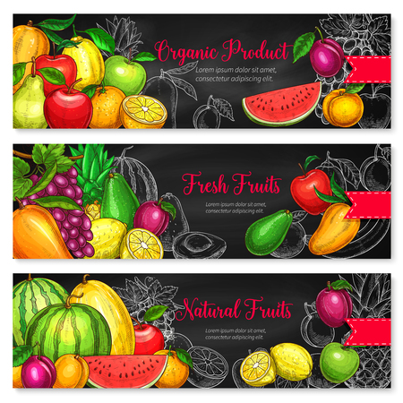 Fruits banners of fresh watermelon, melon or avocado and apple, farm harvest pear, peach or plum and tropical pineapple or exotic kiwi and orange for organic product or fruit farm market Ilustrace
