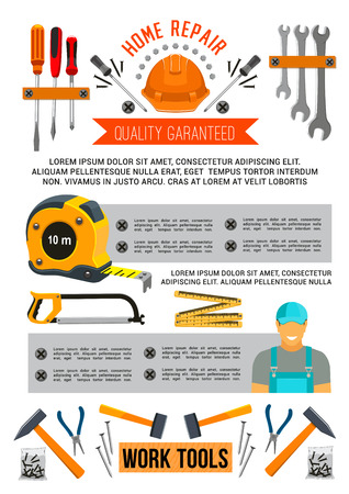 Home repair work tools, carpentry and house construction poster template. Vector woodwork grinder plane, hammer or mallet and wrench, painting brush and plaster trowel or screwdriver for renovation