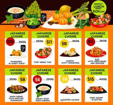 Japanese cuisine restaurant menu template. Vector lunch offer for sweet syrup tangerine, tory kenko yako or seafood and vegetable rice, shish kebab in shiitake mushrooms, shrimps cream soup and salmon