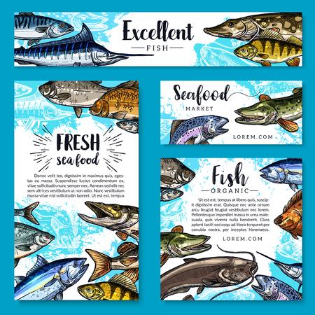 Los carteles de los mariscos y de los alimentos de los pescados y las plantillas de las banderas fijaron para el mercado de los pescados y de marisco. Diseño vectorial de trucha fresca, salmón o caballa y marlin, platija o atún y espadín de arenque con pez sheatfish Foto de archivo - 84922933