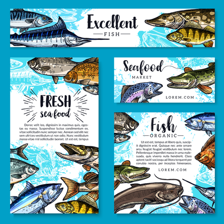 Seafood and fish food posters and banners templates set for fish and sea food market. Vector design of fresh trout, salmon or mackerel and marlin, flounder or tuna and herring sprats with sheatfish Illustration
