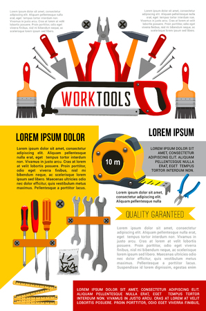 Home repair and house renovation poster of work tools for carpentry, woodwork and plastering. Vector handyman tools of hammer, mallet or screwdriver and saw, drill or trowel spatula and grinder plane