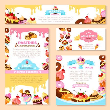 빵집이 게 또는 과자 제과점 배너 및 포스터 템플릿 집합. 벡터 디저트 케이크와 과자 컵 케이크, 초콜릿 비스킷 또는 브라우니와 티라미수, 과일 파이 일러스트