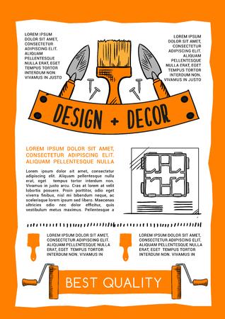 홈 수리 및 건설 도구 작업 포스터입니다. 집 디자인 및 목공 망치, 리노베이션 망치 또는 스크루 드라이버, plasterer 흙손 주걱 및 목공 분쇄기 비행기의