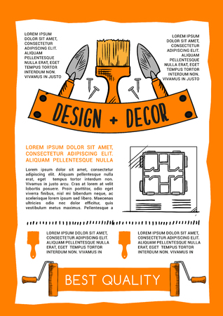 Home repair and construction poster of work tools. Vector toolbox for house design and decor of carpentry hammer, renovation mallet or screwdriver, plasterer trowel spatula and woodwork grinder plane Illustration