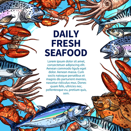 Seafood and fish food market poster template. Vector design of fresh tuna, octopus or flounder, salmon or tuna and prawn shrimp, fisherman catch lobster crab or squid and trout with spats and herring