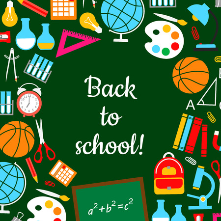 mathematics: Back to school study lesson supplies vector poster