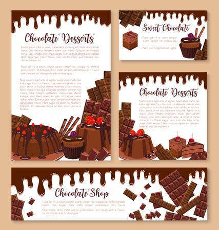 벡터 초콜릿 디저트 및 과자 템플릿