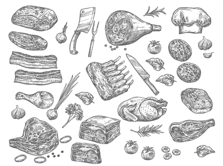 Vector sketch icons of meat for butchery shop Stock Illustratie