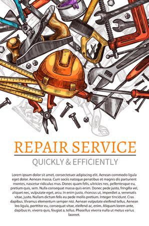 Poster di vettore degli strumenti di lavoro per il servizio di riparazione Vettoriali