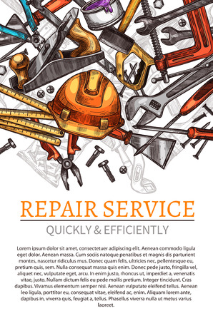 Work tools vector poster for repair service Illustration