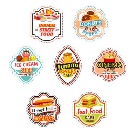 Fast food vector icons for fastfood cinema bistro