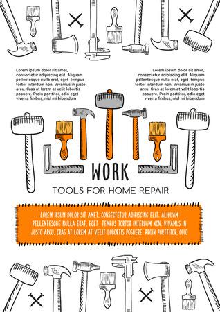 집 수리를위한 작업 도구의 벡터 포스터