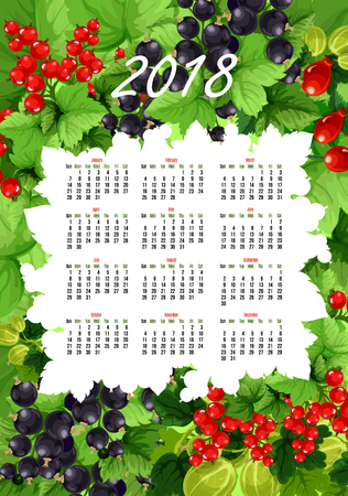Vector 2018 calendar of fresh berries and fruits Zdjęcie Seryjne - 85545742