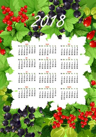 Vector 2018 calendario de bayas frescas y frutas Foto de archivo - 85545742