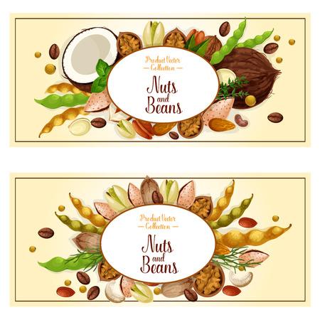 Vector banners van noten en fruitpitten