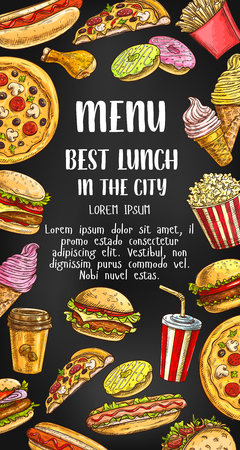 Fast food restaurant vector menu Stock Illustratie