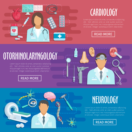 Neurology cardiology doctor vector medical banners