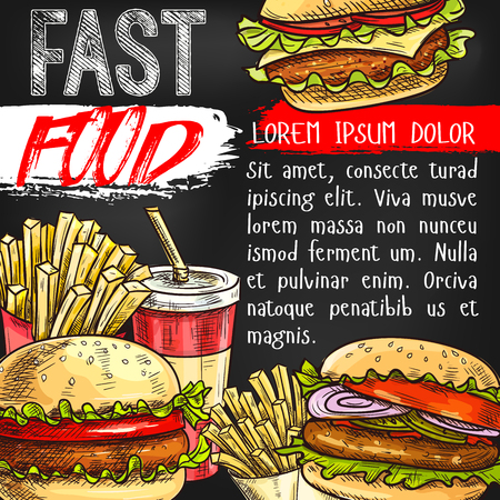 Fast food vector poster for fastfood restaurant Ilustrace