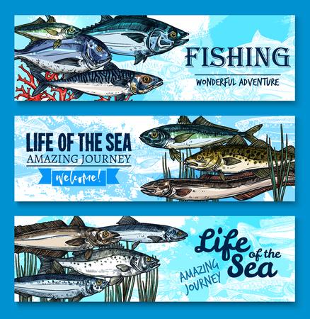 Banners de peces vector para la aventura de pesca en el mar Foto de archivo - 85545741