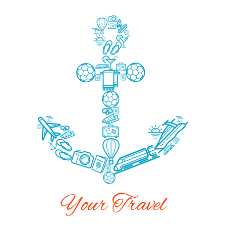 Vector anchor of travel and summer vacation icons