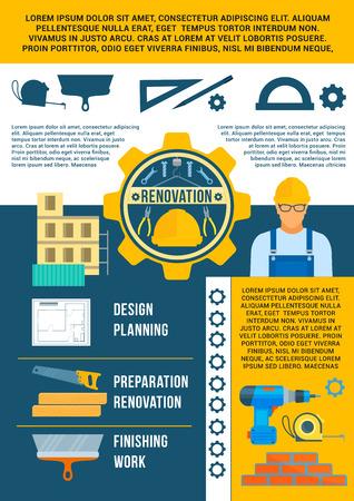 Work tools vector poster for repair or renovation