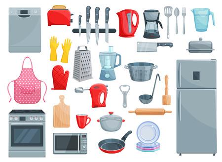 주방 용품 및 식기 벡터 아이콘 설정 일러스트