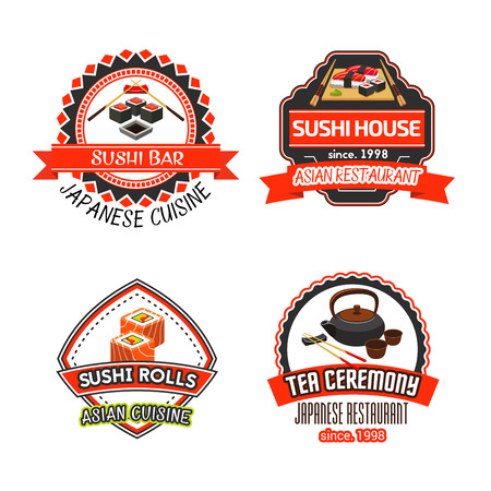 Vector icons set for Japanese sushi restaurant