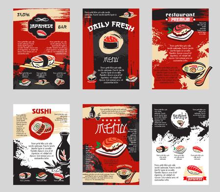 Vector poster for Japanese sushi bar or restaurant