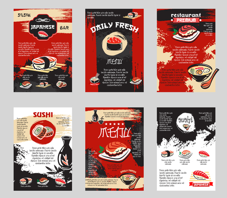 Vector poster voor Japanse sushi bar of restaurant Stock Illustratie