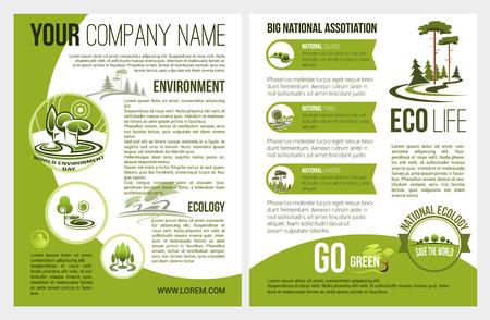 Broszura wektorowa dla firmy zajmującej się ochroną środowiska Ilustracje wektorowe