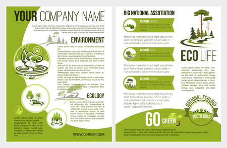 Vector brochure for eco environment company Иллюстрация
