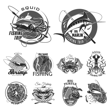 A Vector icons set for fishing or fisher trip on a plain background. Stock Illustratie