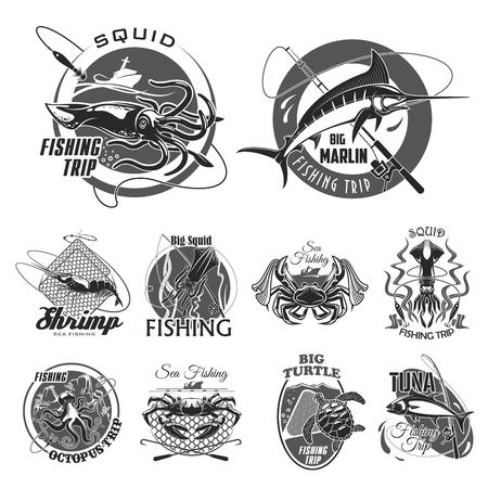 un ensemble d & # 39 ; icônes vectorielles pour pêche ou pêcheur pêcheur sur un fond uni .
