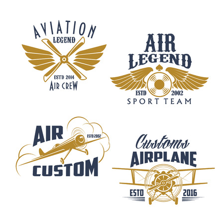 Aviation retro airplane sport team vector icons Illustration